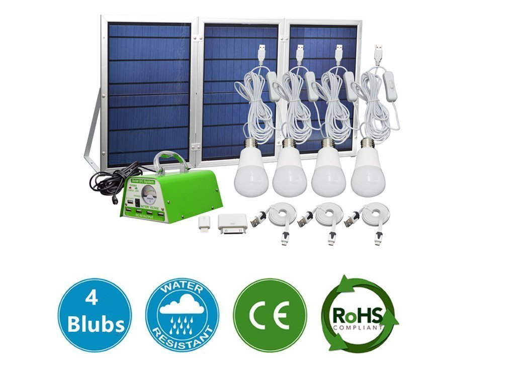 GMFive 30W Panel Solar Home System Kit Including Cell Phone Charger& 4 LED  Strong Light Bulbs