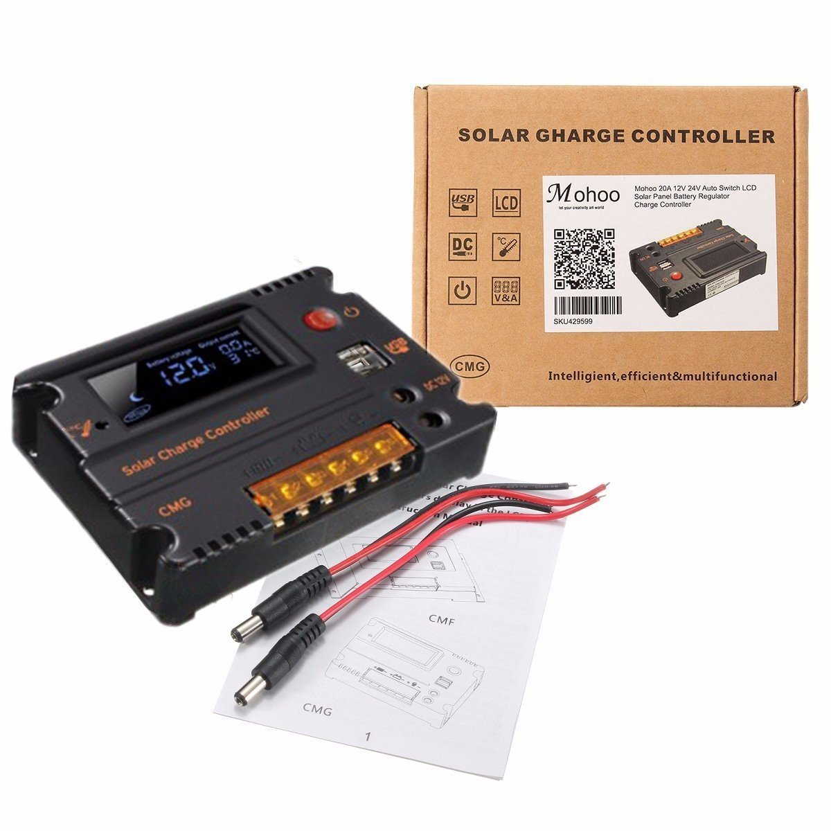 Mohoo 20a 12v 24v Solar Charge Controller Auto Switch Lcd Charger Circuit
